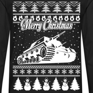 Army Tank Ugly Christmas Sweater - Men's Premium Long Sleeve T-Shirt