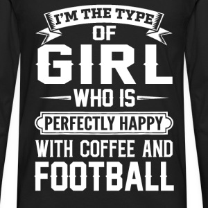 she is happy with coffee and football - Men's Premium Long Sleeve T-Shirt