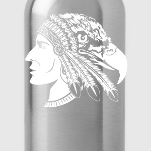 Native American Indian - Heads of man and eagle - Water Bottle