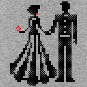 SILHOUETTE OF ELEGANT BRIDE AND GROOM CROSS-STITCH Bags & backpacks - Toddler Premium T-Shirt