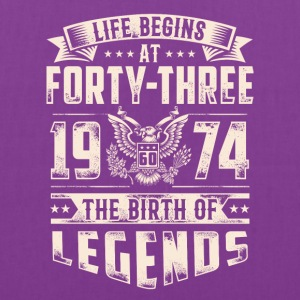 Life Begins At Forty Three Tshirt - Tote Bag