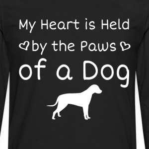 Heart is Held by the Paws of a Dog Animal Lover  T-Shirts - Men's Premium Long Sleeve T-Shirt