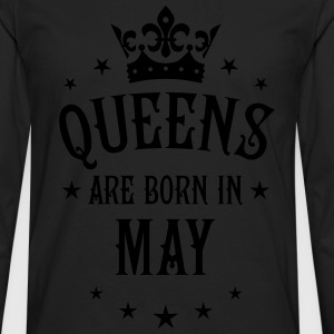 Queens are born in May Crown Stars sexy Woman T-Sh - Men's Premium Long Sleeve T-Shirt