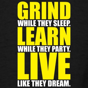 Grind, Learn, Live (White and Yellow Print) Bags & backpacks - Men's T-Shirt