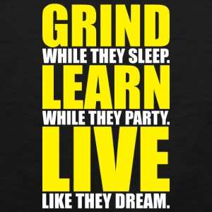 Grind, Learn, Live (White and Yellow Print) Bags & backpacks - Men's Premium Tank