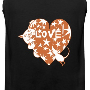 Valentine Cat and Mouse with Love Heart - Men's Premium Tank