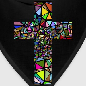 Low Poly Stained Glass Cross With Background - Bandana
