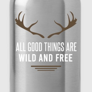 Deer - All good things are wild and free - Water Bottle