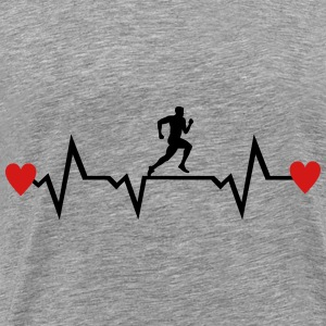 Running Man & Heartbeat & Hearts Hoodies - Men's Premium T-Shirt