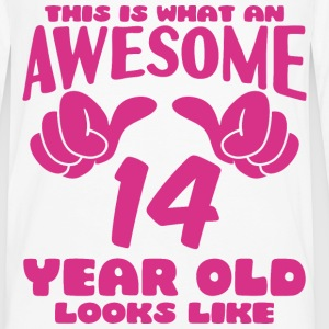This is what an Awesome 14 year old looks like - Men's Premium Long Sleeve T-Shirt