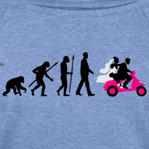 evolution_of_man_wedding_scooter_a3c T-Shirts - Women's Wideneck Sweatshirt