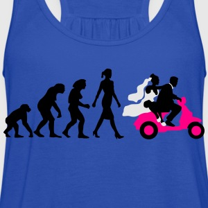 evolution_of_woman_wedding_scooter_a3c T-Shirts - Women's Flowy Tank Top by Bella