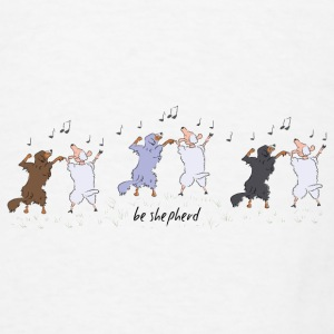 Australian Shepherd dancing with sheep Mugs & Drinkware - Men's T-Shirt