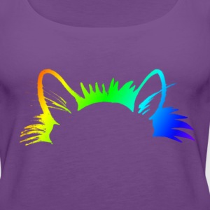Rainbow Kitty Ears Womens Purple T-shirt - Women's Premium Tank Top