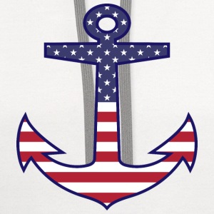 Patriotic American Flag Anchor Nautical Phone & Tablet Cases - Contrast Hoodie