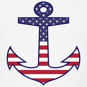 Patriotic American Flag Anchor Nautical Caps - Men's T-Shirt