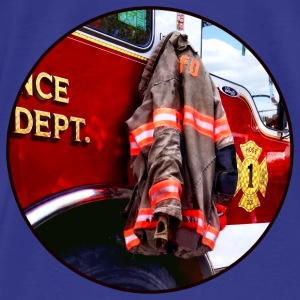 Fireman's Jacket On Fire Truck Bags & backpacks - Men's Premium T-Shirt