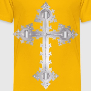 Platinum Ornate Cross No Background - Toddler Premium T-Shirt