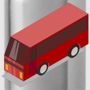3D Isometric Red Bus - Water Bottle