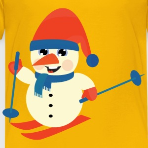 Skiing Snow Man - Toddler Premium T-Shirt