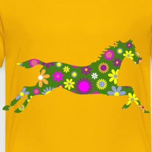 Retro Floral Galloping Horse - Toddler Premium T-Shirt
