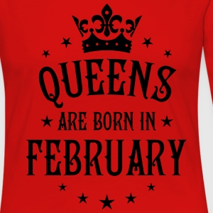 Queens are born in February birthday Crown Shirt - Women's Premium Long Sleeve T-Shirt