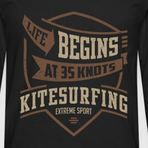 Life Begins at 35 Kitesurfing T-shirt  - Men's Premium Long Sleeve T-Shirt