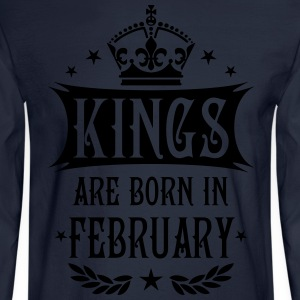Kings are born in February King Birthday Gift Vint - Men's Long Sleeve T-Shirt