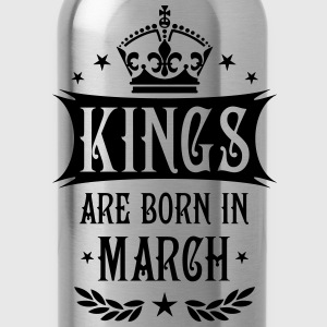 Kings are born in March King Birthday Gift Vintage - Water Bottle