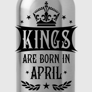 Kings are born in April King Birthday Gift Vintage - Water Bottle