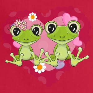 frog love heart romantic flowers - Adjustable Apron