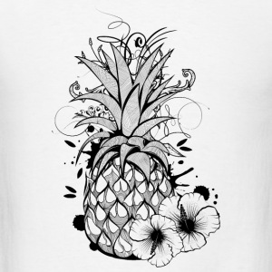 Pineapple with hibiscus blossom Buttons - Men's T-Shirt