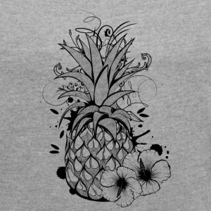 Pineapple with hibiscus blossom T-Shirts - Women's Roll Cuff T-Shirt