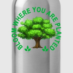 bloom_where_planted_tshirt_ - Water Bottle