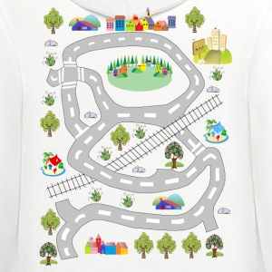 Colorful houses. Men's T-shirt. Print in back. - Contrast Hoodie