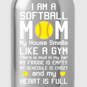 I am a Softball Mom My Heart is Full T-Shirt T-Shirts - Water Bottle