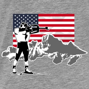 Biathlon - USA Flag Hoodies - Men's Premium T-Shirt