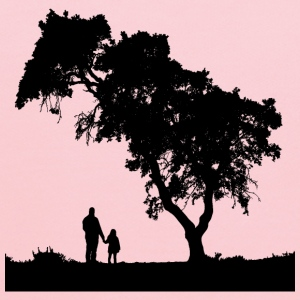 Father And Daughter Landscape Silhouette - Kids' Hoodie