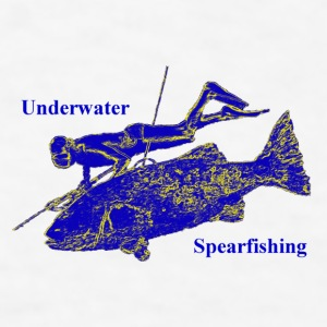 Vintage Spearfishing Freediver with Fish - Men's T-Shirt