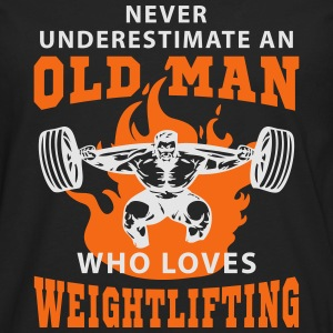 Never Underestimate an Old Man loves Weightlifting T-Shirts - Men's Premium Long Sleeve T-Shirt
