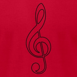 Red Open Treble Clef Hoodies - Men's T-Shirt by American Apparel