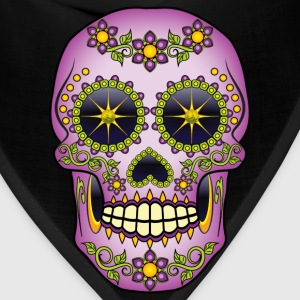 Purple Floral Sugar Skull T-Shirts - Bandana