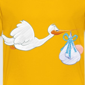 Stork Carrying Baby Boy - Toddler Premium T-Shirt