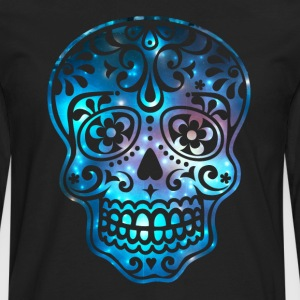 Sugar skull galaxy, space, cosmic, pirate, flowers - Men's Premium Long Sleeve T-Shirt