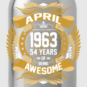 April 1963 54 Years Of Being Awesome T-Shirts - Water Bottle