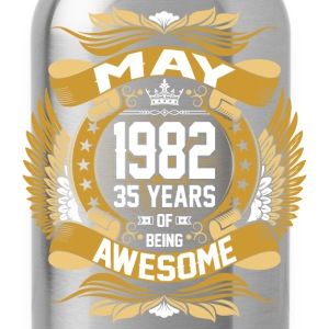 May 1982 35 Years Of Being Awesome T-Shirts - Water Bottle
