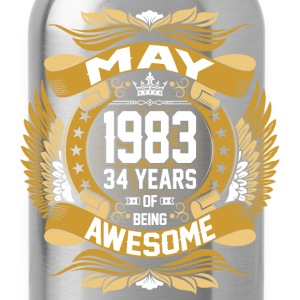 May 1983 34 Years Of Being Awesome T-Shirts - Water Bottle