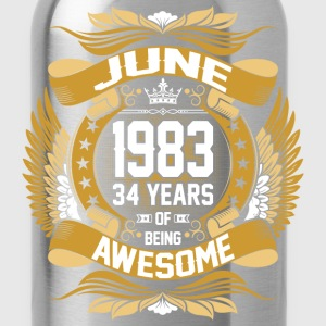 June 1983 34 Years Of Being Awesome T-Shirts - Water Bottle