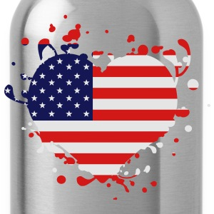 us america american flag united states heart - Water Bottle