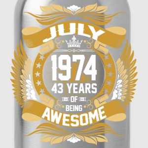 July 1974 43 Years Of Being Awesome T-Shirts - Water Bottle